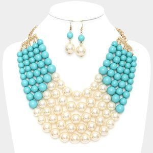 Turquoise Chunky Multi Strand Pearl Bib Necklace